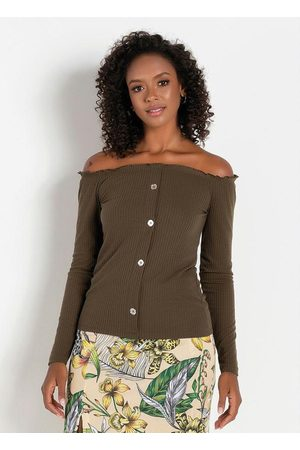 Moda Pop Mulher Blusa - Blusa com Botões Decorativos