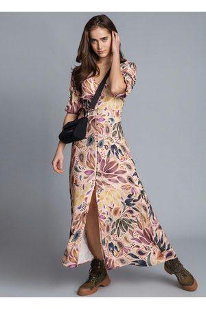 LEZ A LEZ Mulher Vestido Estampado - Vestido Mídi Botões Fenda Estampa