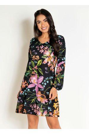 Moda Pop Mulher Vestido Estampado - Vestido Curto Floral Evasê