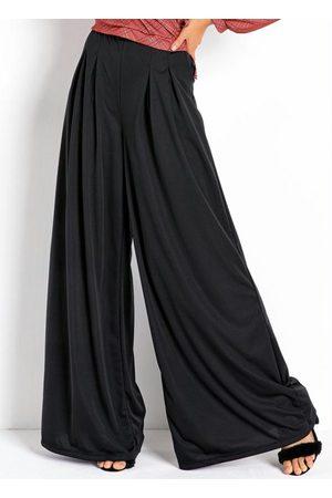 Moda Pop Mulher Calça Pantalona - Calça Pantalona Preta com Pregas