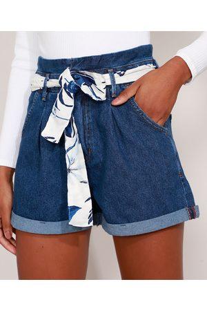 Clockhouse Mulher Short - Short Clochard Jeans Cintura Super Alta com Faixa Estampada para Amarrar Escuro