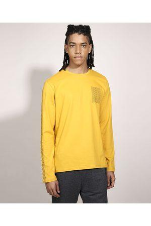Suncoast Camiseta Ondas Manga Longa Gola Careca Amarela