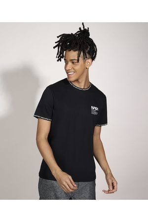 Nasa Homem Camisolas de Manga Curta - Camiseta Manga Curta Gola Careca Preta