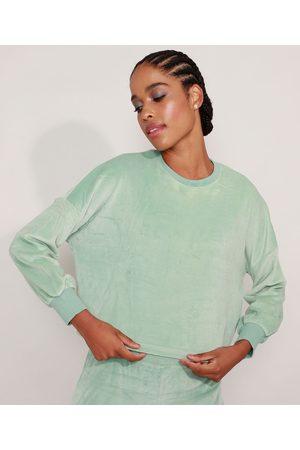 ACE Mulher Casacos - Blusão Cropped de Plush Esportivo Decote Redondo Claro