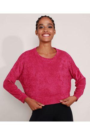 ACE Mulher Casacos - Blusão Cropped Amplo Atoalhado Esportivo Decote Redondo