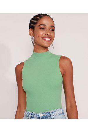 Basics Mulher Camiseta - Regata Básica Cropped Canelada Gola Alta