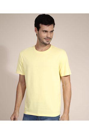 Basics Homem Camisolas de Manga Curta - Camiseta Masculina Básica Manga Curta Gola Careca Amarela