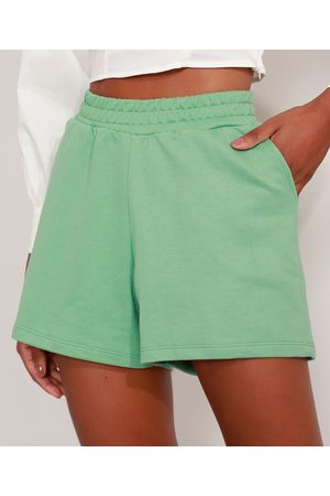 Basics Mulher Short - Short de Moletom Básico com Pregas e Bolsos Cintura Alta Claro