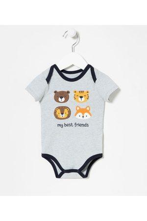Teddy Boom (0 a 18 meses) Criança Body - Body Infantil Bichinhos Gola Americana com Vies Contrastante - Tam 0 a 18 meses | | | 9-12M