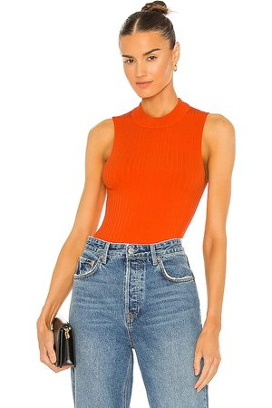 Essentiel Antwerp Zaris Ribbed Fitted Top in Orange. - size L (also in M, S, XS)