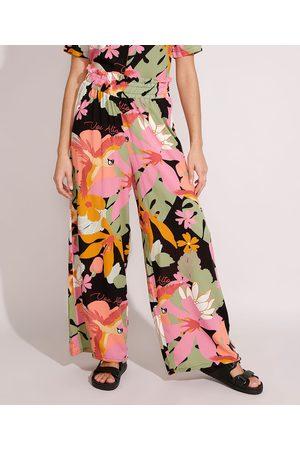 Yessica Mulher Calça Cintura Alta - Calça Pantalona de Viscose Estampada de Araras Cintura Super Alta Preta