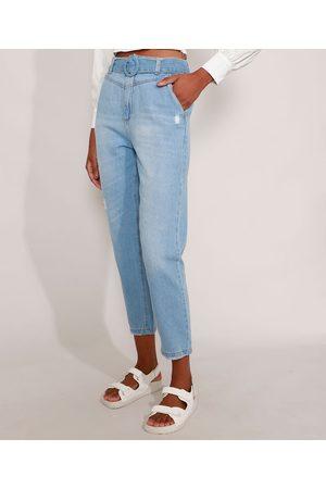 YESSICA Mulher Calça Cintura Alta - Calça Mom Jeans Cintura Super Alta com Cinto e Puídos Claro