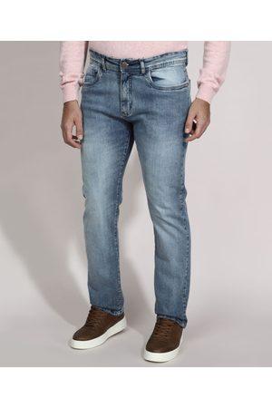 CASUAL Calça Reta Jeans com Bolsos Claro