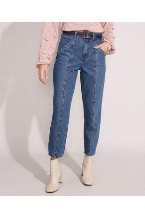 YESSICA Mulher Calça Cintura Alta - Calça Mom Jeans Cintura Super Alta com Recortes e Cinto Escuro