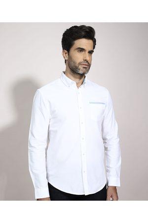 ANGELO LITRICO Homem Camisa Casual - Camisa Tradicional com Recortes Manga Longa Branca