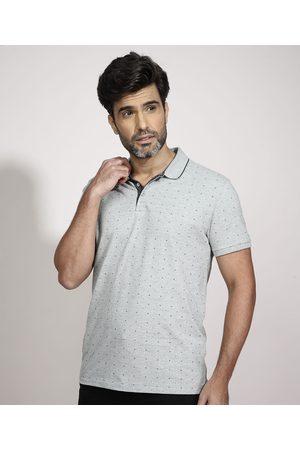 ANGELO LITRICO Homem Camisa Pólo - Polo Tradicional Geométrico Manga Curta Cinza Mescla