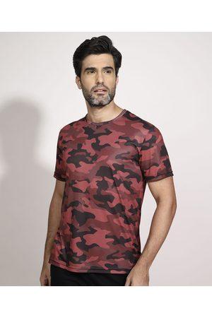 ACE Camiseta Esportiva Camuflada Manga Curta Gola Careca Coral