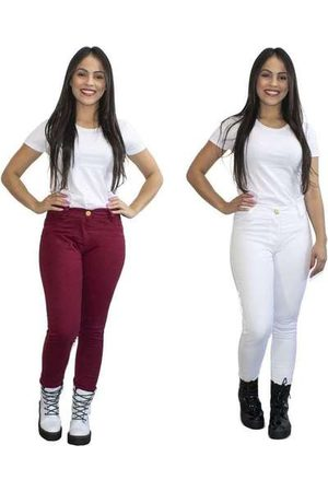 Luma Ventura Kit 2 Calças Jeans Feminina Skinny Cós Alto Bordô