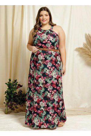 Marguerite Vestido Longo Floral Franzido Plus Size