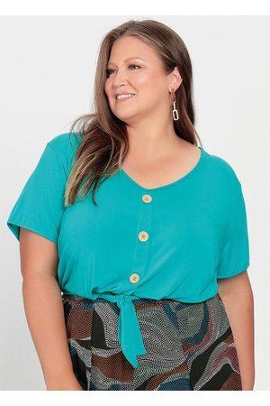 Mink Blusa Plus Size Turquesa Cropped com Amarração