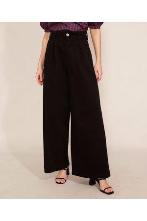 Mindse7 Calça Wide Pantalona de Sarja com Pregas Cintura Super Alta Mindset Preta
