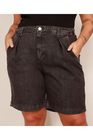 Mindse7 Bermuda Jeans Plus Size com Pregas Cintura Alta Mindset Preta