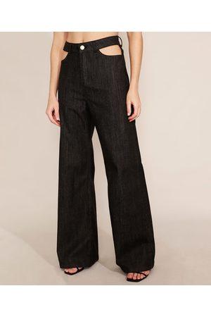 Mindse7 Calça Wide Pantalona Jeans com Vazado Cintura Alta Mindset Preta