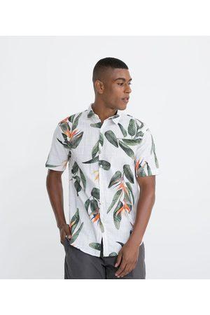 Marfinno Homem Camisa Manga Curta - Camisa Manga Curta em Voil Estampa Folhagens       G