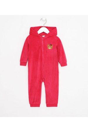 Teddy Boom (0 a 18 meses) Macacão Infantil em Plush com Capuz e Bordado de Oncinha - Tam 0 a 18 meses | | | 0-3M