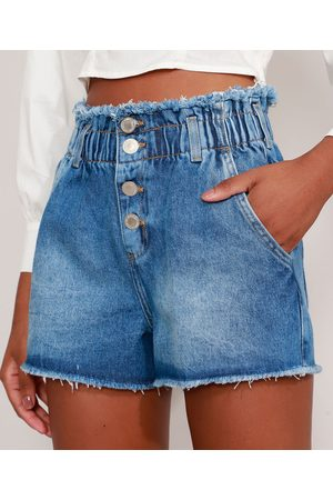 Clockhouse Short Clochard Jeans Cintura Super Alta Desfiado Médio
