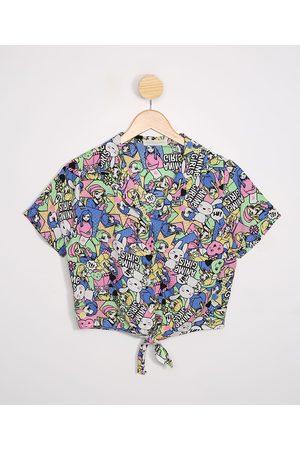 "Fifteen Camisa Juvenil Cropped Estampada Anime Girls"" Manga Curta Multicor"""