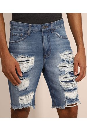 Clockhouse Bermuda Jeans Masculina Slim Destroyed Médio