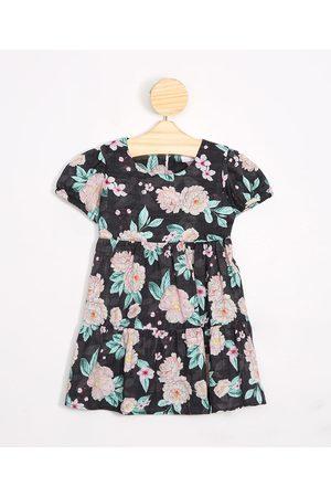BABY CLUB Menina Vestido Estampado - Vestido Infantil Floral Manga Bufante Preto
