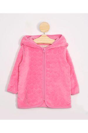 BABY CLUB Blusão Infantil de Fleece Texturizado de Poá com Capuz Pink