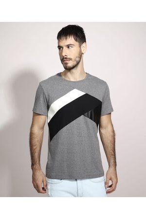 AL Contemporâneo Camiseta Slim com Recortes Manga Curta Gola Careca Mescla