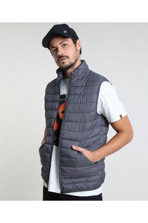 Basics Homem Colete - Colete Puffer Masculino Básico com Bolsos e Gola Alta Chumbo