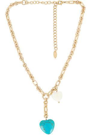 Ettika Colares - Turquoise Heart Lariat Necklace in Metallic .