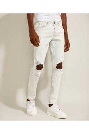 Clockhouse Calça Super Skinny Jeans Destroyed Claro