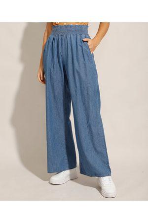adidas Calça Jeans Feminina Pantalona Wide Clochard Cintura Alta Alfaiatada Médio