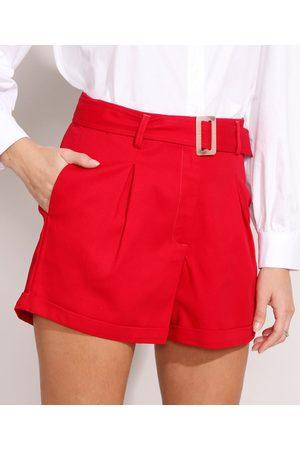 YESSICA Mulher Short - Short Alfaiatado Cintura Super Alta com Cinto