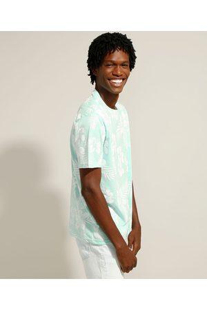 Clockhouse Camiseta Estampada Floral Manga Curta Gola Careca Verde Claro