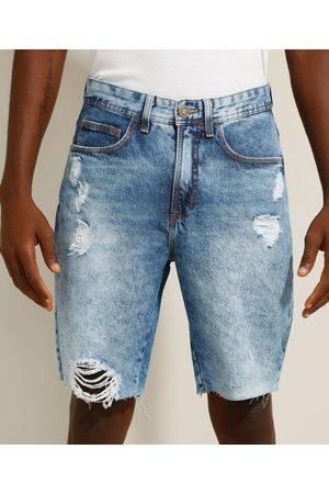 Clockhouse Bermuda Slim Jeans Destroyed Marmorizada Médio