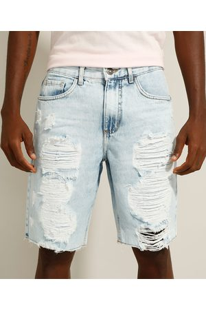 Clockhouse Bermuda Slim Jeans Destroyed Marmorizada Claro
