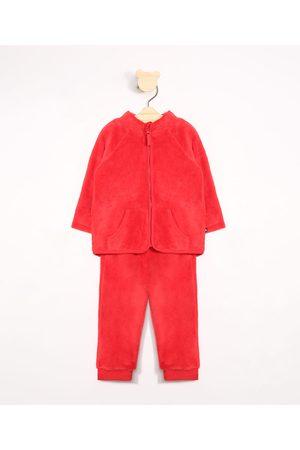 BABY CLUB Conjunto Infantil de Fleece Blusão Gola Alta + Calça Jogger