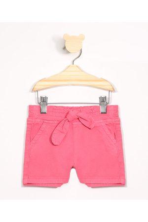 BABY CLUB Menina Short - Short Infantil de Sarja com Laço Pink