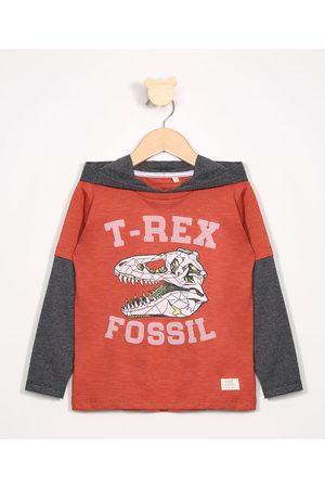 PALOMINO Camiseta Infantil T-Rex com Capuz e Recorte Manga Longa Gola Careca Escuro