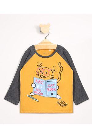 BABY CLUB Camiseta Infantil Gatinho Leitor Estampa Interativa Manga Longa Gola Careca Amarela
