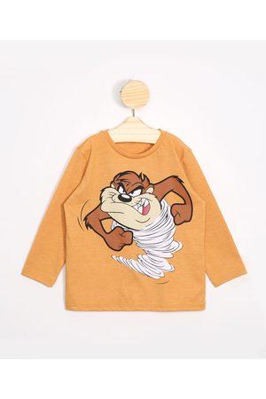 Warner Bros Camiseta Infantil Taz Mania Manga Curta Gola Careca Mostarda