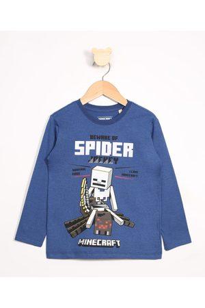 Minecraft Menino Camisolas de Manga Larga - Camiseta Infantil Spider Jockey Manga Longa Gola Careca