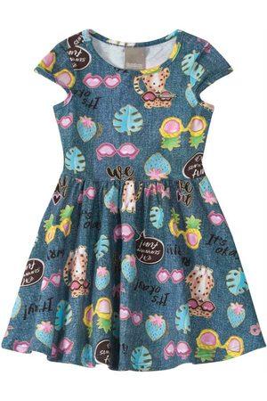 CARINHOSO Vestido Godê Tropical em Cotton